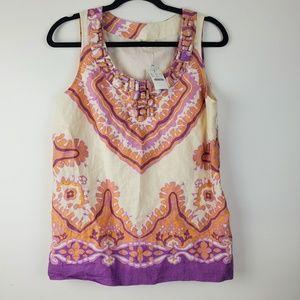 J. Crew 100% Linen Embellished Purple Women's Top